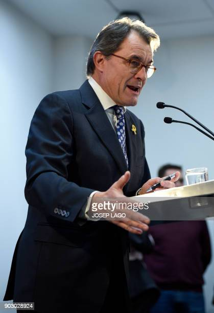 Former President of the Catalan regional government and leader of 'Partit Democrata Europeu Catala' PDECAT Artur Mas holds a press conference...