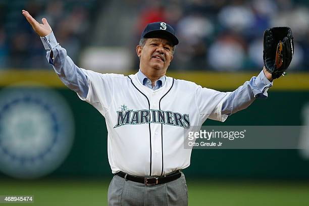 Former President of the Dominican Republic Leonel Fernandez reacts after throwing out the ceremonial first pitch prior to the game between the...