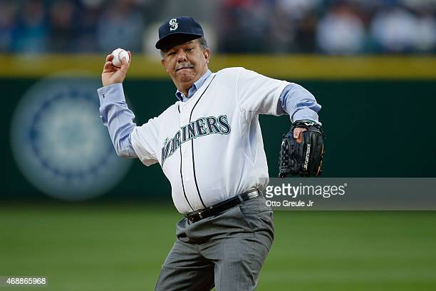 Former President of the Dominican Republic Leonel Fernandez throws out the ceremonial first pitch prior to the game between the Seattle Mariners...