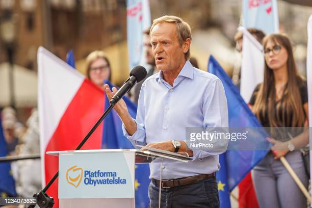Former President of the European Council and chairman of the European People's Party Donald Tusk speaking to the crowd is seen in Gdansk, Poland on...