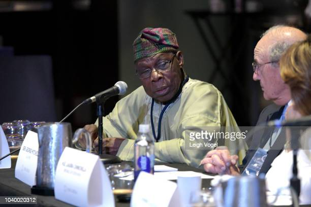 Former President of the Federal Republic of Nigeria HE Olusegun Obasanjo speaks during the 2018 Concordia Annual Summit Day 2 at Grand Hyatt New York...