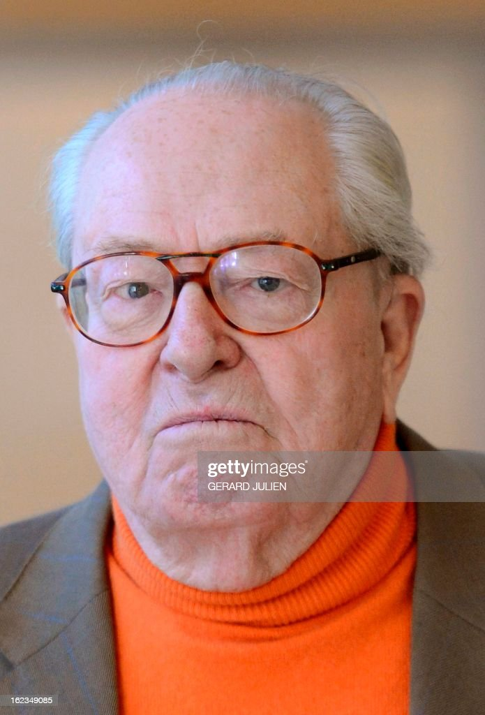 Former president of the Front national far-right party Jean-Marie Le Pen is pictured on February 22, 2013 in Marseille, during a plenary session of the Paca region assembly.
