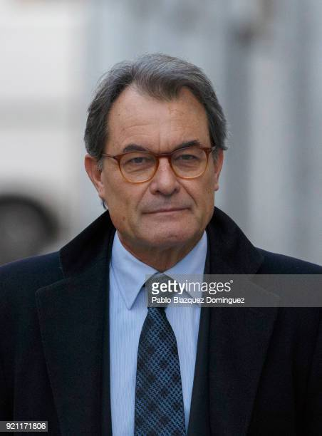 Former President of the Generalitat of Catalonia Artur Mas arrives at the Supreme Court on February 20 2018 in Madrid Spain Some Catalan...