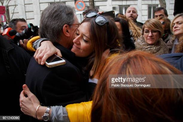Former President of the Generalitat of Catalonia Artur Mas hugs a supporter as he leaves the Supreme Court on February 20 2018 in Madrid Spain Some...