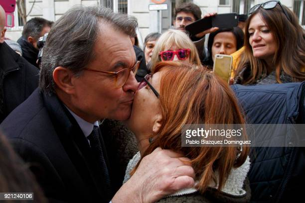 Former President of the Generalitat of Catalonia Artur Mas kisses a supporter as he leaves the Supreme Court on February 20 2018 in Madrid Spain Some...