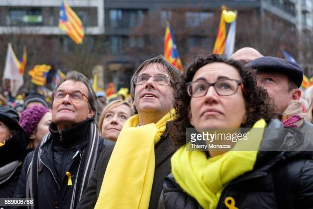 Former President of the Generalitat of Catalonia Artur Mas Ousted Catalan leader Carles Puigdemont and the General Secretary of the Republican Left...