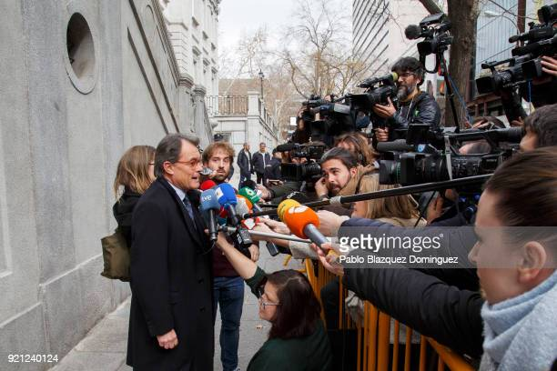 Former President of the Generalitat of Catalonia Artur Mas speaks to press as he leaves the Supreme Court on February 20 2018 in Madrid Spain Some...