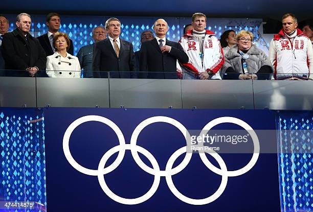 Former President of the International Olympic Committee Jacques Rogge, Claudia Bach, International Olympic Committee President Thomas Bach and...