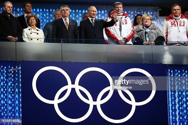 Former President of the International Olympic Committee Jacques Rogge Claudia Bach International Olympic Committee President Thomas Bach and...