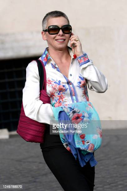 Former President of the Italian Lower Chamber and former militant of the Lega Nord party Irene Pivetti leaves the Quirinale after Annual party at...