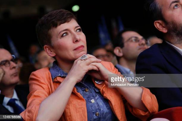 Former President of the Italian Lower Chamber and former militant of the Lega Nord party Irene Pivetti attends the event of the Fratelli d'Italia...
