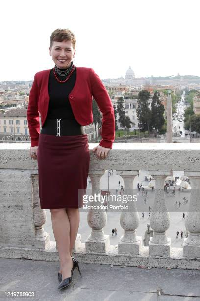 Former President of the Italian Lower Chamber and former militant of the Lega Nord party Irene Pivetti poses for photographers during the opening of...