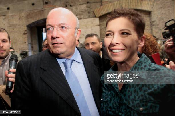 Former President of the Lazio Region Francesco Storace and former President of the Italian Lower Chamber Irene Pivetti attends the event of La Destra...