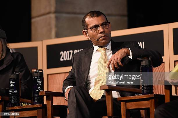 Former President of the Maldives Mohamed Nasheed speaks on stage at the New Climate Lunch Roundtable on day 4 of the 2017 Sundance Film Festival at...