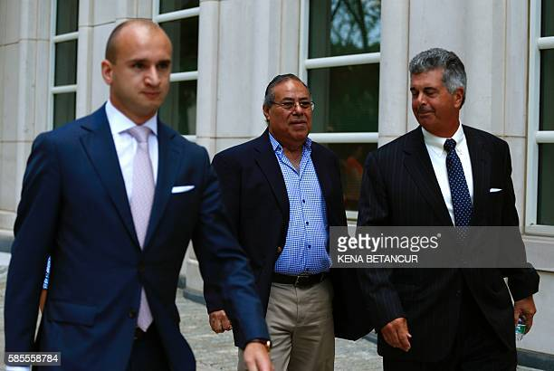 Former President of the Nicaraguan Football Federation Julio Rocha exits the Court of the Eastern District in Brooklyn New York on August 3 2016...