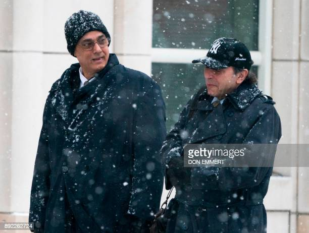 Former president of the Peruvian Football Association Manuel Burga one of three defendants in the FIFA scandal on trial in Brooklyn arrives at the...