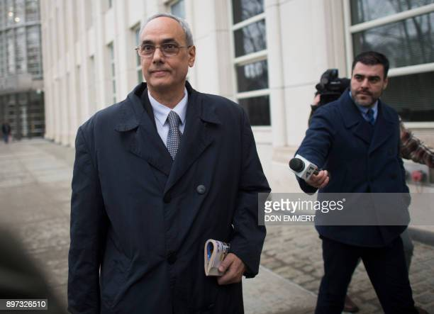 Former president of the Peruvian Football Association Manuel Burga one of three defendants in the FIFA scandal departs the Federal Courthouse in...