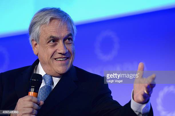 Former President of the Republic of Chile Sebastian Pinera speaks onstage the 2014 Concordia Summit Day 1 at Grand Hyatt New York on September 29...