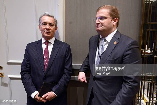 Former President of the Republic of Colombia Alvaro Uribe Velez and Concordia CoFounder and Chairman of the Board Nicholas Logothetis pose backstage...
