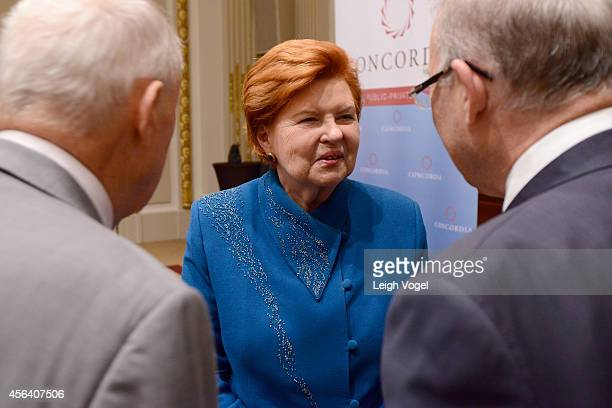 Former President of the Republic of Latvia Dr Vaira VikeFreiberga attends the 2014 Concordia Summit luncheon Day 2 at Grand Hyatt New York on...