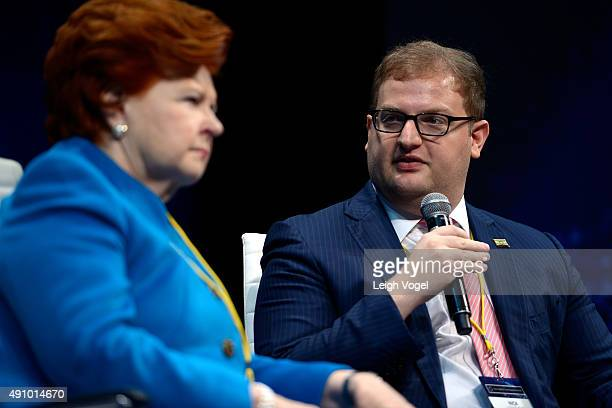 Former President of the Republic of Latvia Vaira VikeFreiberga and CoFounder and Chairman of the Board of Concordia Nicholas Logothetis speak on...