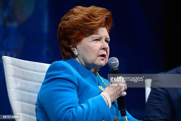Former President of the Republic of Latvia Vaira VikeFreiberga speaks on stage during the 2015 Concordia Summit at Grand Hyatt New York on October 2...