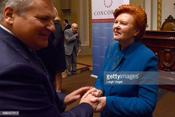 Former President of the Republic of Poland Aleksander Kwasniewski and Former President of the Republic of Latvia Dr Vaira VikeFreiberga attend the...