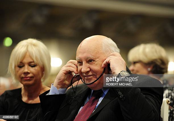 Former President of the Soviet Union Mikhail Gorbachev and his daughter Irina Mikhailovna Virganskaya attend a ceremony organised by the Berlin...