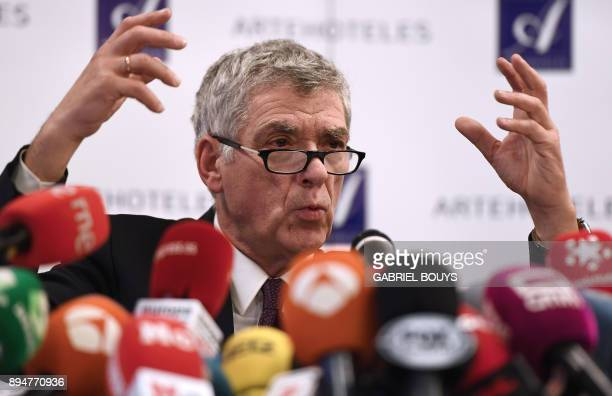 Former president of the Spanish Football Federation Angel Maria Villar gives a press conference at a hotel in Madrid on December 18 2017 The...