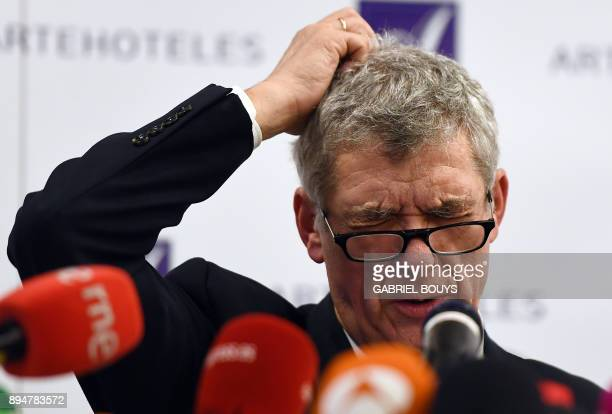 TOPSHOT Former president of the Spanish Football Federation Angel Maria Villar gives a press conference at a hotel in Madrid on December 18 2017 The...