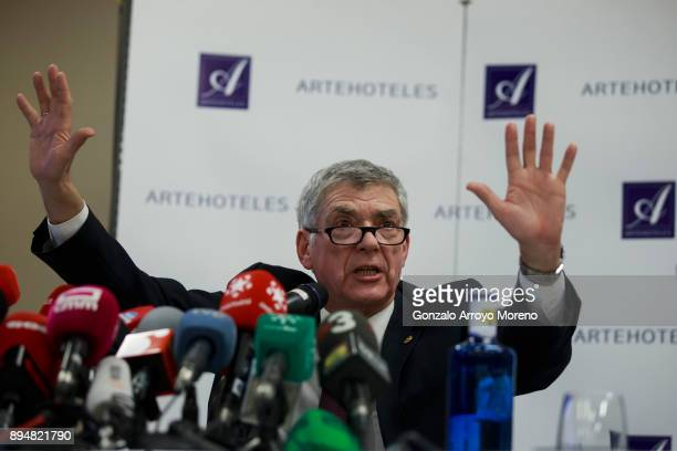Former President of the Spanish Football Federation Angel Maria Villar attends a press conference on December 18 2017 in Madrid Spain Angel Maria...