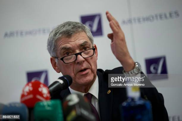 Former President of the Spanish Football Federation, Angel Maria Villar attends a press conference on December 18, 2017 in Madrid, Spain. Angel Maria...