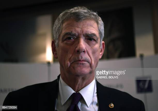 Former president of the Spanish Football Federation Angel Maria Villar looks on during a press conference at a hotel in Madrid on December 18 2017...