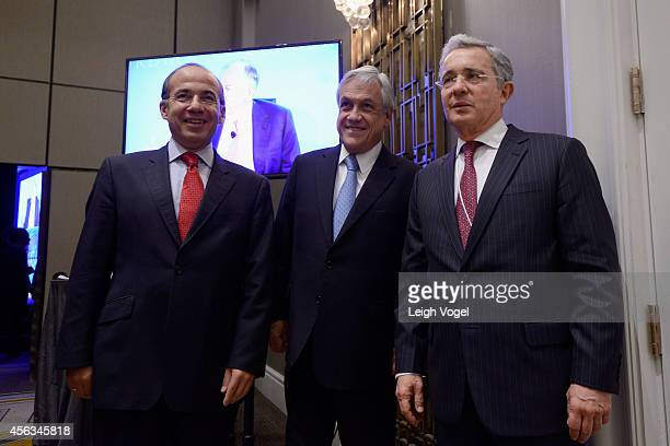 Former President of the United Mexican States Felipe Calderon Former President of the Republic of Chile Sebastian Pinera and Former President of the...