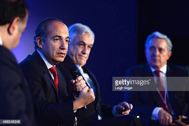 Former President of the United Mexican States Felipe Calderon speaks onstage at the 2014 Concordia Summit Day 1 at Grand Hyatt New York on September...