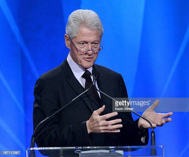 Former President of the United States Bill Clinton accepts the Advocate for Change Award onstage during the 24th Annual GLAAD Media Awards at JW...