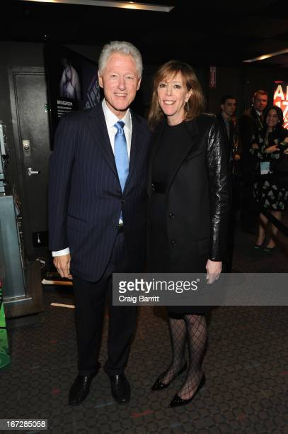 Former President of the United States Bill Clinton and film producer Jane Rosenthal attend 'Bridegroom' Premiere during the 2013 Tribeca Film...