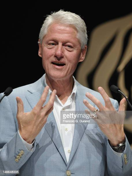Former President of the United States Bill Clinton gives a speech during the Group ABC Seminar as part of Cannes Lions 59th International Festival of...
