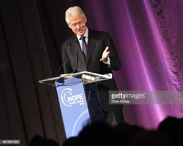 Former President of the United States Bill Clinton gives the keynote address at the HOPE Global Forum at Omni Hotel on January 17, 2015 in Atlanta,...