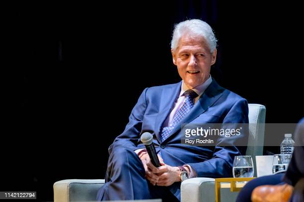 Former President of the United States Bill Clinton on Stage during An Evening With The Clintons at Beacon Theatre on April 11 2019 in New York City