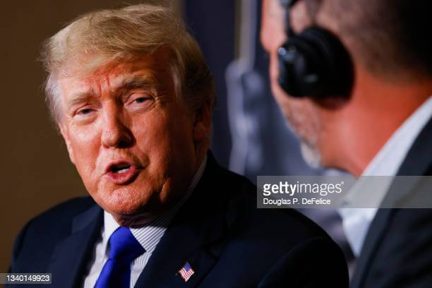 Former President of the United States Donald Trump speaks prior to the fight between Evander Holyfield and Vitor Belfort during Evander Holyfield vs....