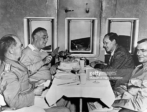 Former President of the United States Franklin Delano Roosevelt celebrates his birthday on board a Boeing 314 flying boat enroute from the Casablanca...