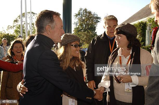 Former President of the United States George HW Bush meeting Melissa Lehman and Sharon Ogrin during Round 1 AM FourBall matches for the Ryder Cup...