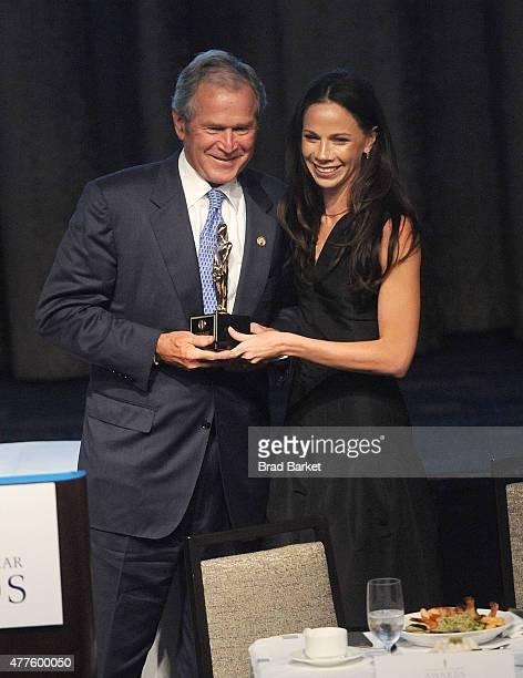 Former President of the United States George W Bush and daughter Barbara Bush attend the 2015 Father Of The Year Luncheon Awards at the New York...