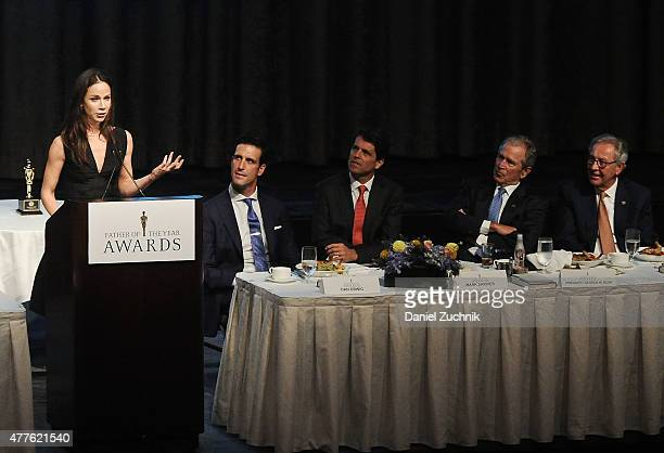 Former President of the United States George W Bush and daughter Barbara Bush attend the 2015 Father Of The Year Luncheon Awards at New York Hilton...