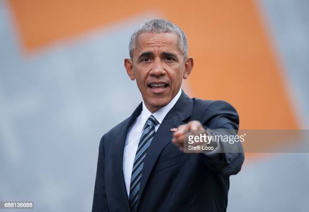 Former President of the United States of America Barack Obama after a discussion about democracy at Church Congress on May 25 2017 in Berlin Germany...
