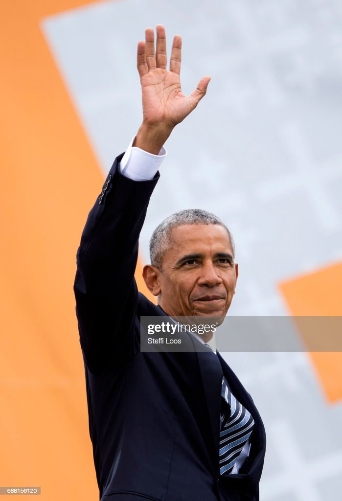 Former President of the United States of America Barack Obama arrives for a discussion on democracy at Church Congress on May 25, 2017 in Berlin, Germany. Up to 200,000 faithful are expected to attend the five-day congress in Berlin and Wittenberg which is celebrating the 500th anniversary of the Reformation.