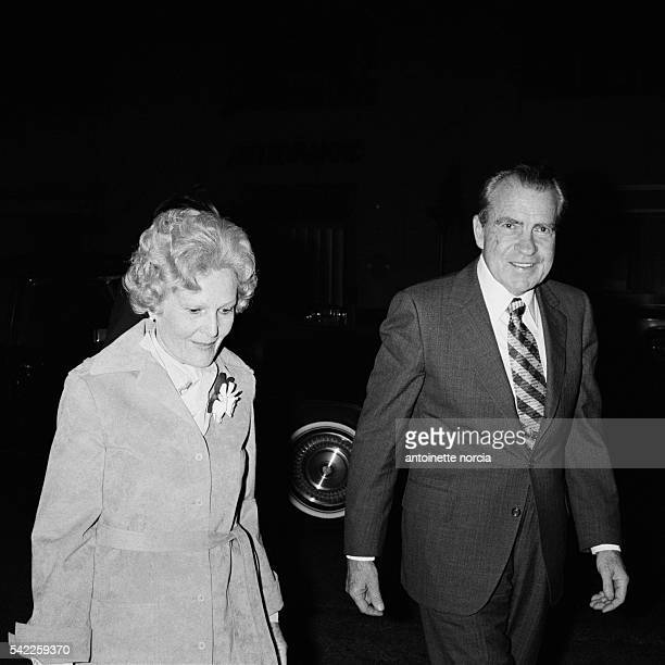Former President of the United States Richard Nixon and his wife Pat appear publicly for the first time following Nixon's resignation from office in...