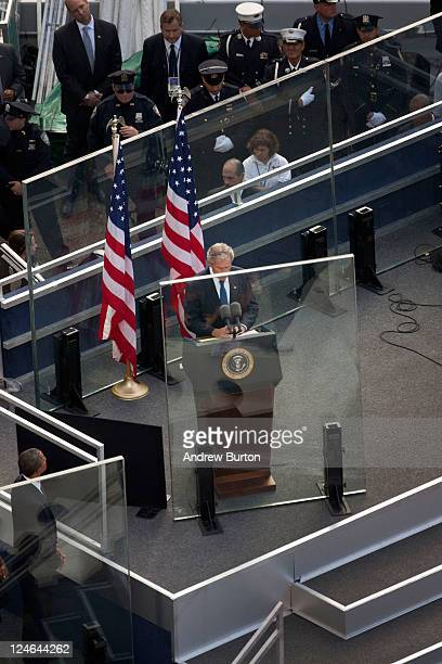 Former President of the US George W Bush speaks during the tenth anniversary ceremonies of the September 11 2001 terrorist attacks at the World Trade...