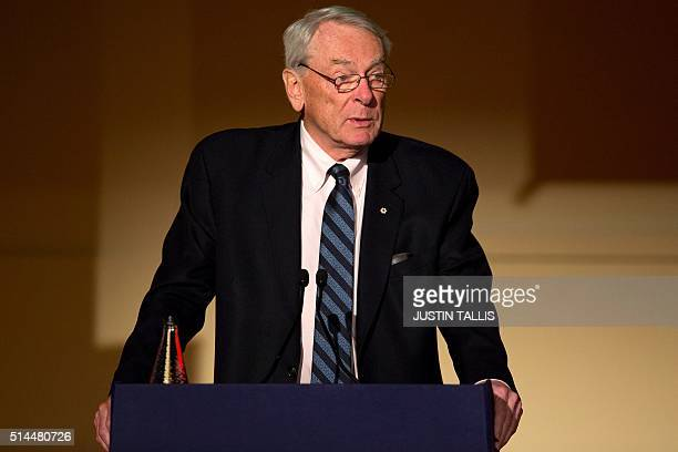 Former President of the World AntiDoping Agency Dick Pound speaks at a Tackling Doping in Sport 2016 conference in London on March 9 2016 Russia is...